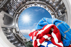 Inside the washing machine. Royalty Free Stock Photography