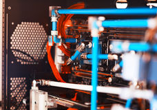 Inside water cooled high performance workstation bokeh backdrop Royalty Free Stock Image