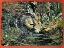 Inside the wave barrel & x28;painting by photographer& x29; stock images