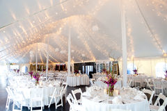 Inside a wedding tent Royalty Free Stock Images