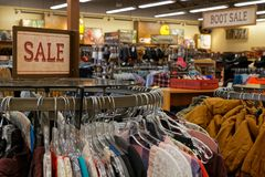 Inside a western store of Rapid City. RAPID CITY, SOUTH DAKOTA, September 11, 2018 : A western clothes store stock photo