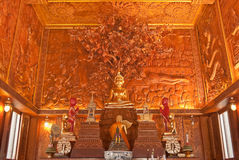 Inside of wholly teak wood church, Thailand. Buddha statue in teak wood church amazing thailand ,wat bang kae noi, Samutsongkram,Thailand Stock Photo