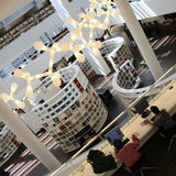 Inside widok Amsterdam Środkowa biblioteka Zdjęcie Royalty Free
