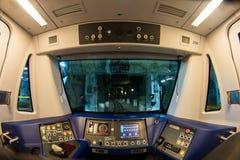 Inside widok metro pociągu kabina w Bucharest metra kolei fotografia royalty free