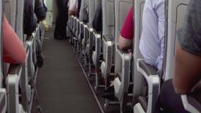Inside widok samolotowa nawa podczas lota Pasażery w ich siedzeniach, kabinowa załoga początków usługa zbiory