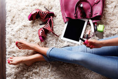 Inside of a woman's bag. Woman taking a selfie of the girly stuffs in her bag Royalty Free Stock Photos