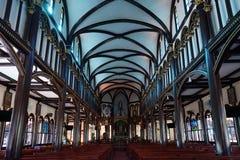 Inside Wooden church Stock Photos