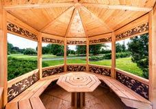 Inside of wooden gazebo. Inside of a wooden gazebo royalty free stock photos