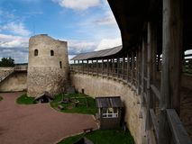 Inside yard of Isborsk Fortress Stock Photo