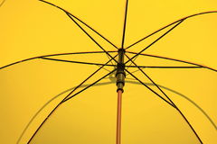 Inside yellow colour umbrella Stock Image