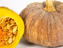 Inside yellow pumkin Royalty Free Stock Image