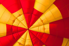 Inside of a Yellow and red Hot air balloon. Inside view of a Yellow and red Hot air balloon close up Stock Photo
