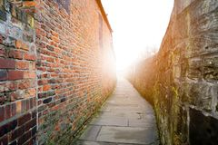 Inside the York`s historic city wall, Yorkshire, UK. With artifi