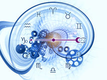 Inside of Zodiac. Composition of Zodiac symbols, gears, lights and abstract design elements as a concept metaphor on subject of astrology, child birth, fate Stock Photos