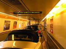 Insidee the Tunnel. Channel Tunnel between UK and Europe Stock Photo