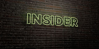 INSIDER -Realistic Neon Sign on Brick Wall background - 3D rendered royalty free stock image. Can be used for online banner ads and direct mailers Royalty Free Stock Images