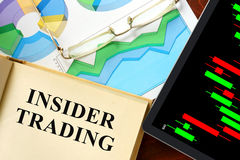 Insider trading. Words insider trading written on a book. Business concept Stock Photo