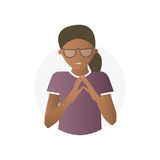 Insidious black woman, flat gradient vector icon.  Royalty Free Stock Photo