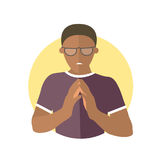 Insidious and revengeful black man. In glasses, envious guy. Flat design icon. Evil, vengeful emotion. Simply editable isolated on white vector sign Stock Photography
