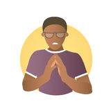 Insidious and revengeful black man in glasses. Envious guy. Flat gradient design icon. Evil, vengeful emotion. Simply editable isolated on white vector sign Stock Photo