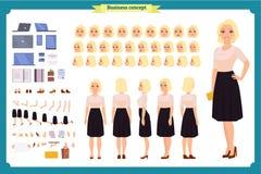 Insieme abbastanza femminile della creazione del carattere degli impiegati di ufficio Viste integrali e differenti, gesti di emoz illustrazione di stock