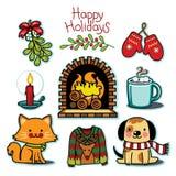 Insieme accogliente di inverno, raccolta felice dell'illustrazione di festa Immagini Stock