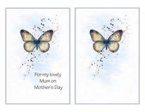 Insieme acquerello della farfalla Immagine Stock