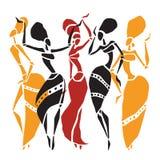 Insieme africano della siluetta dei ballerini illustrazione di stock