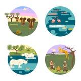 Insieme africano di concetto di safari illustrazione di stock