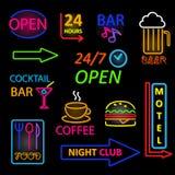 Insieme al neon dell'icona di vettore Immagini Stock Libere da Diritti