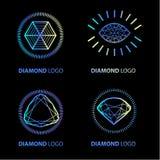 Insieme al neon di logo di vettore del diamante illustrazione vettoriale