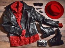 Insieme alla moda con gli accessori rossi Immagine Stock Libera da Diritti