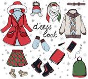 Insieme alla moda di modo di vettore dell'autunno del ` s della donna o vestiti ed accessori di inverno Attrezzatura variopinta c fotografie stock