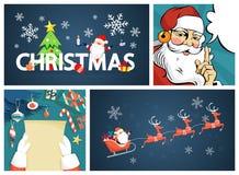 Insieme allegro divertente sveglio della decorazione della cartolina di natale royalty illustrazione gratis
