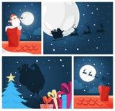 Insieme allegro divertente sveglio della decorazione della cartolina di natale illustrazione di stock