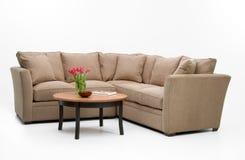 Insieme & tabella del sofà del tessuto Fotografia Stock