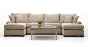 Insieme & tabella del sofà del tessuto Immagini Stock