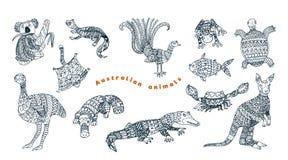 Insieme animale australiano tribale di vettore illustrazione di stock