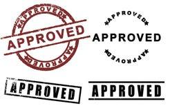 Insieme approvato del timbro di gomma del segno Fotografie Stock Libere da Diritti