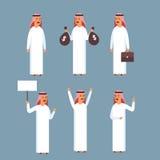Insieme arabo dell'uomo, raccolta di Wearing Traditional Clothes dell'uomo d'affari di Islam Immagini Stock