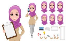 Insieme arabo della creazione del personaggio dei cartoni animati della donna di affari illustrazione vettoriale