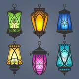 Insieme arabo della lanterna illustrazione vettoriale