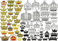 Insieme araldico medievale reale delle corone illustrazione di stock