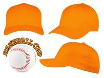 Insieme arancio del berretto da baseball Immagine Stock Libera da Diritti