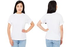 Insieme, asiatico del collage, donna coreana in maglietta isolata su fondo bianco, falso su per progettazione Copi lo spazio masc fotografie stock