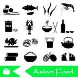 Insieme asiatico di tema dell'alimento delle icone semplici Fotografia Stock