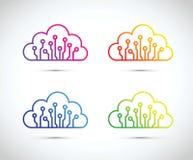 Insieme astratto Colourful dell'icona del chip di computer della nuvola illustrazione vettoriale