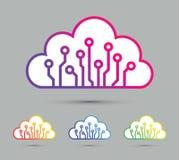 Insieme astratto Colourful dell'icona del chip di computer della nuvola illustrazione di stock