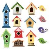 Birdhouse astratto messo con gli uccelli Fotografie Stock Libere da Diritti