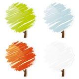 Insieme astratto dell'icona dell'albero di quattro colori Fotografia Stock Libera da Diritti